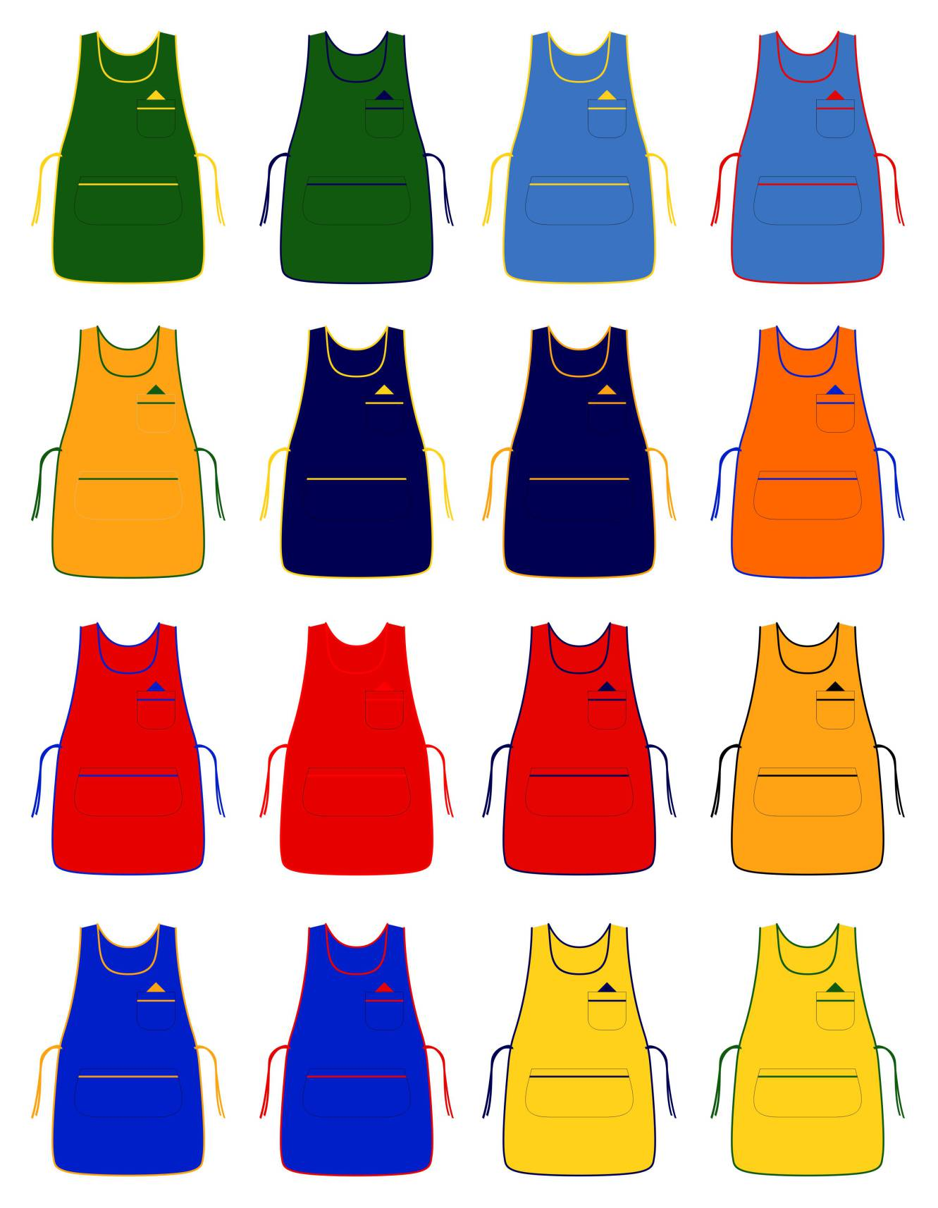 White tabard apron - Colored Tabard Apron With Colored Pipping Zoom Icon