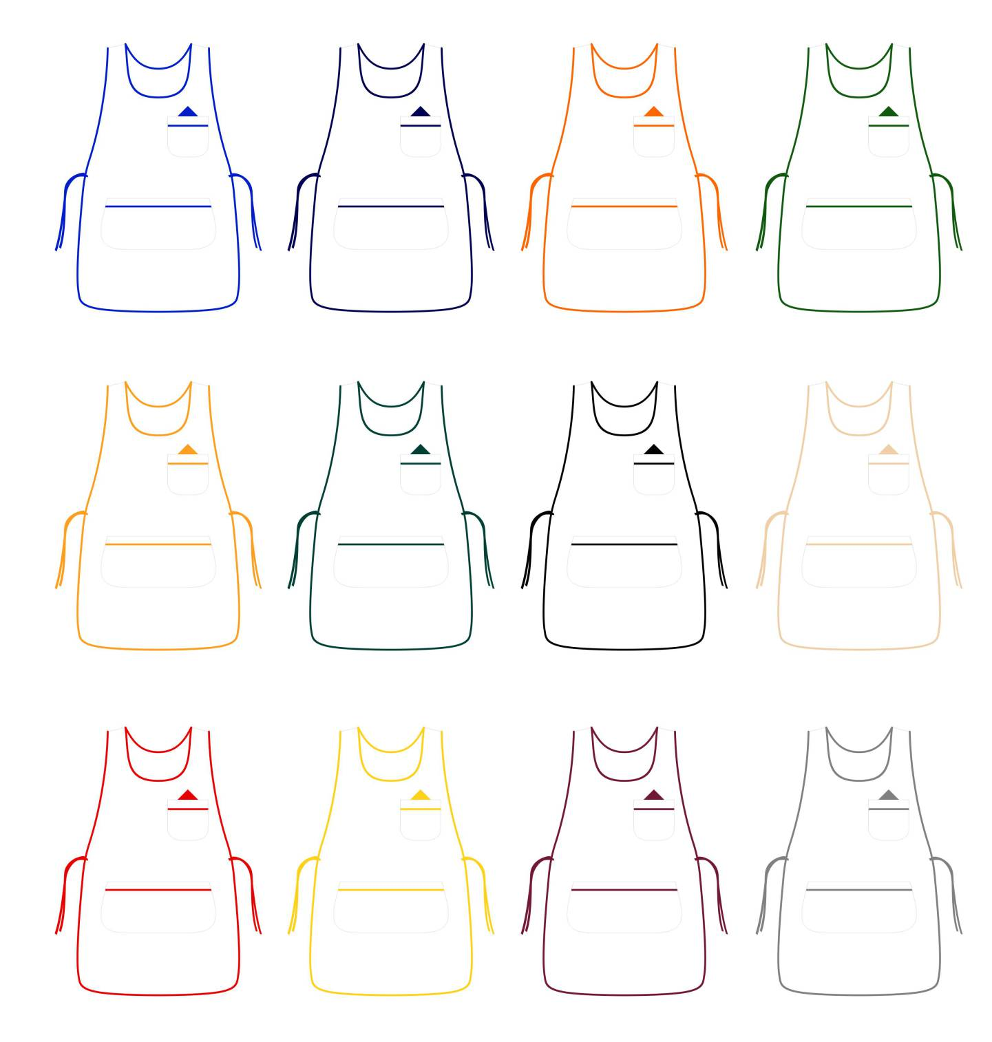 White tabard apron - White Tabard Apron With Colored Pipping Zoom Icon